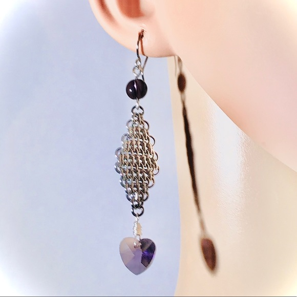 Jewelry - Artisan Amethyst Hearts and Diamonds Earring Set